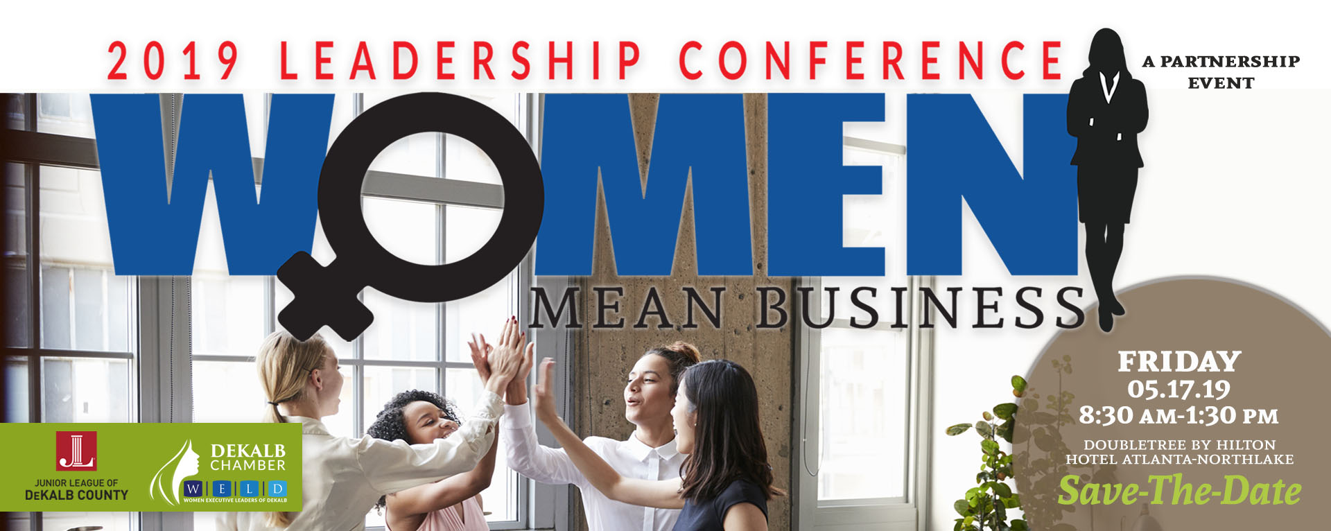 Women high-fiving each other at 2019 Women Mean Business Leadership Conference